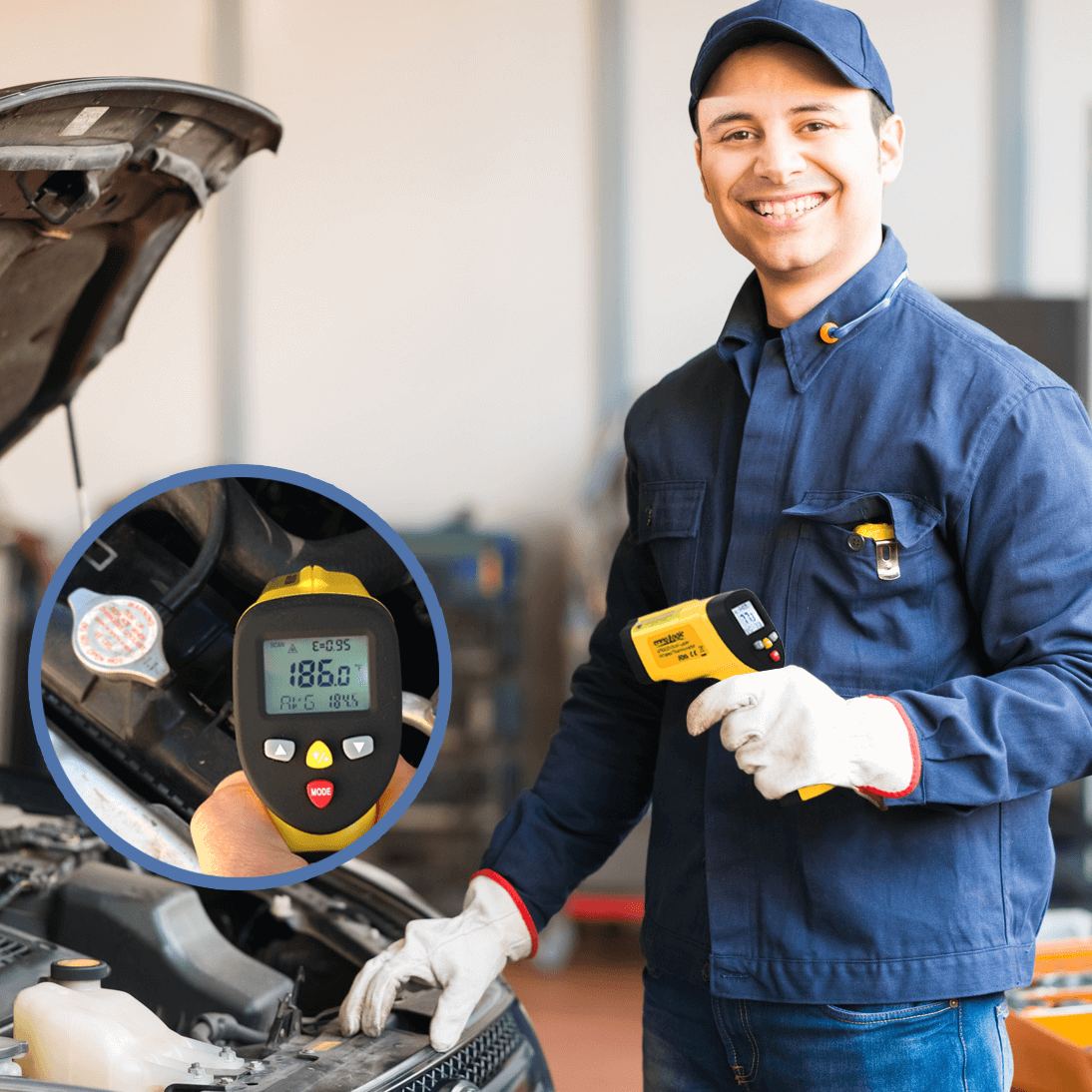 Infrared thermometer measres coolant in automotive diagnostics