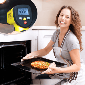Woman Bakes a Perfect Pizza witht he ennoLogic IR Thermometer to Measure her Pizza Stone.