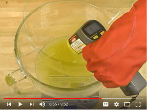 How to Make Soap - Checking Oil temperature