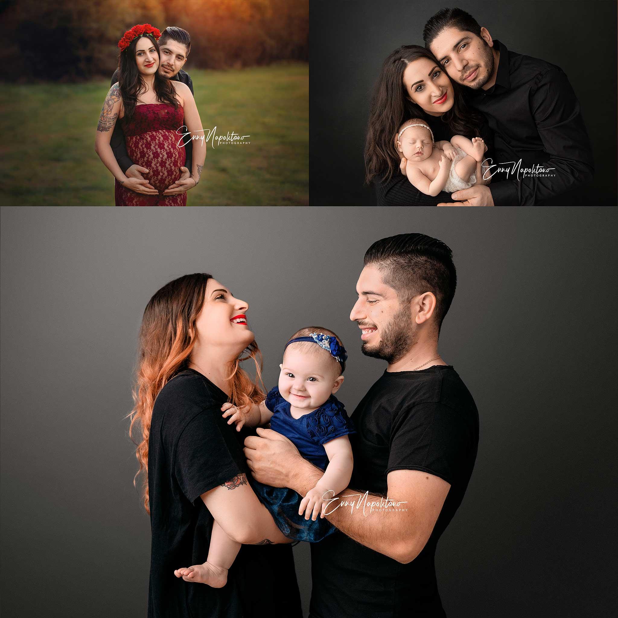 Fotografie di famiglia in gravidanza e di neonato e di bambina 7 mesi fotografo di bambini Milano