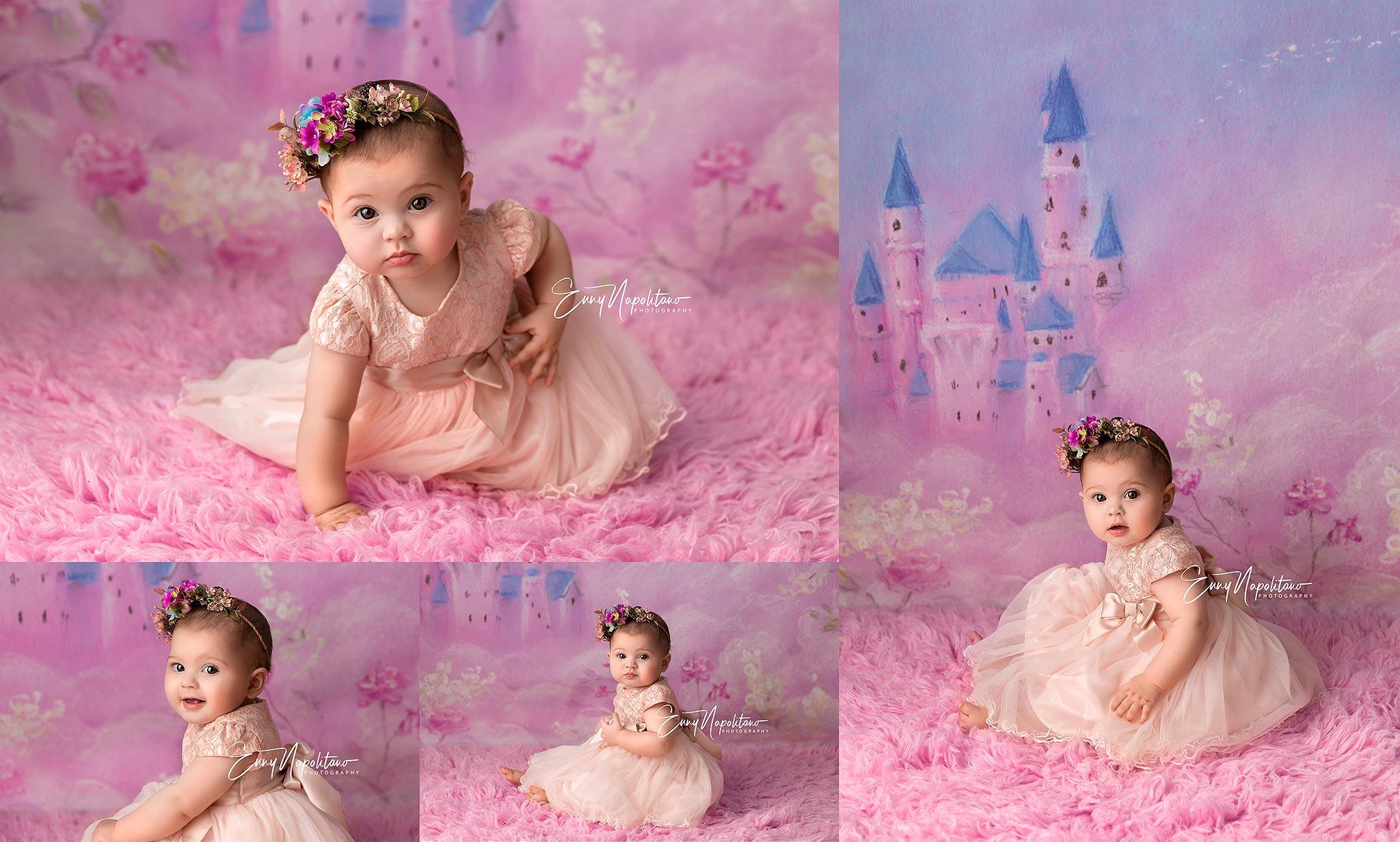 Fotografie di una bimba vestita da principessa in uno studio fotografico per bambini a Milano, Pavia, Monza, Bergamo, Varese fotografo di bambini Milano