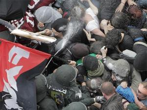 Cops attacked the Blockupy demonstration in Frankfurt on Saturday