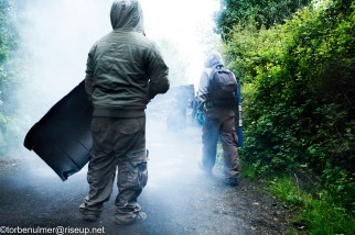 fights about the eviction of barricades on 27/04/2018. Zadists defending a barricade, carrying shields against rubber bullets and exploding concussion grenades fired by the military police