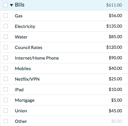 YNAB Bills Category