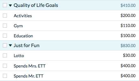 YNAB Quality of Life and Just for Fun Categories