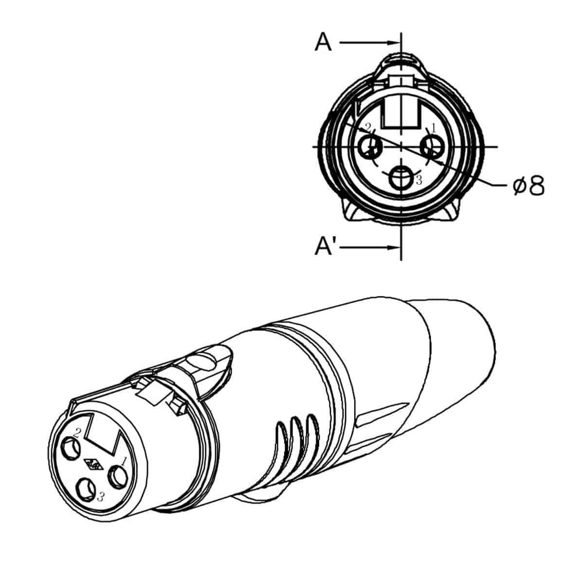 Enova Xlr 3 Pin Female Connector