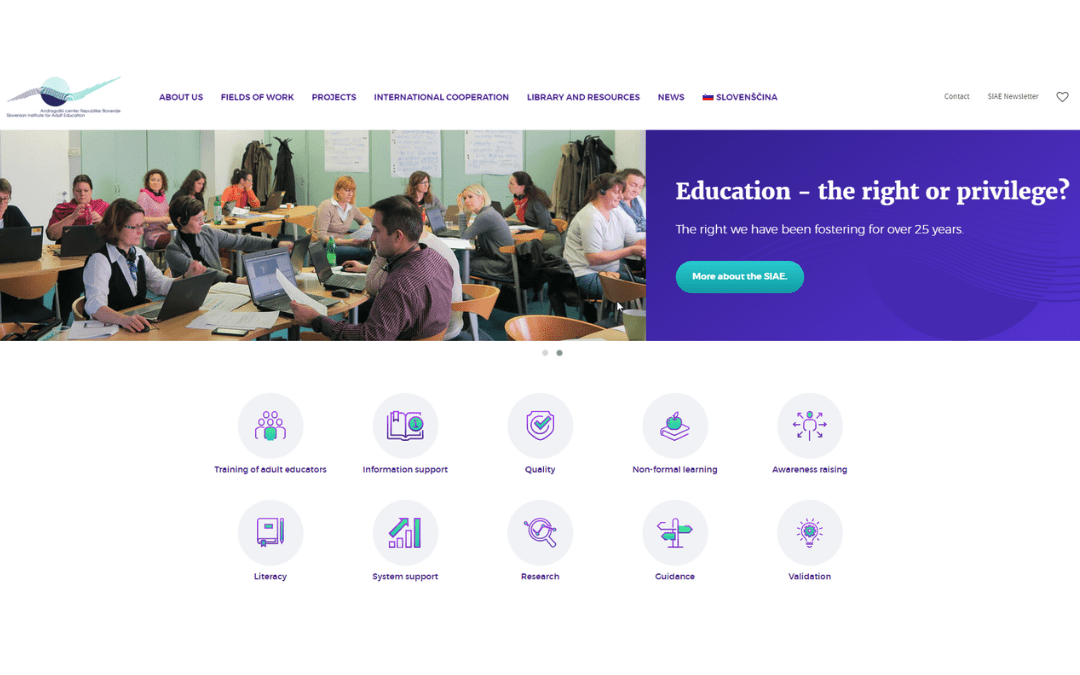 Redesigned English website of the Slovenian Institute of Adult Education