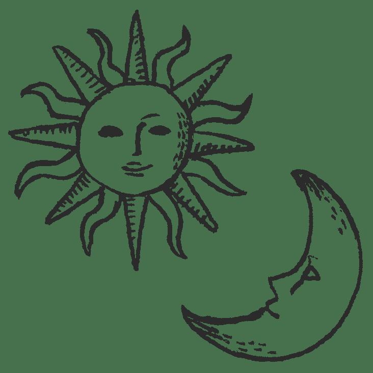 太陽と月の顔のやつの、鉛筆手描きイラストフリー素材