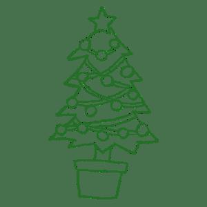 クリスマスツリーの鉛筆手描きイラストフリー素材