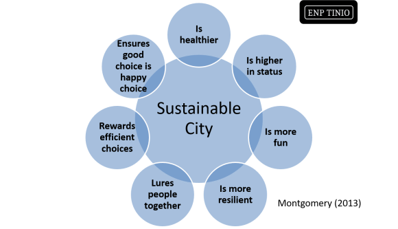 A graphical summary of the Sustainable City.  Happy City.