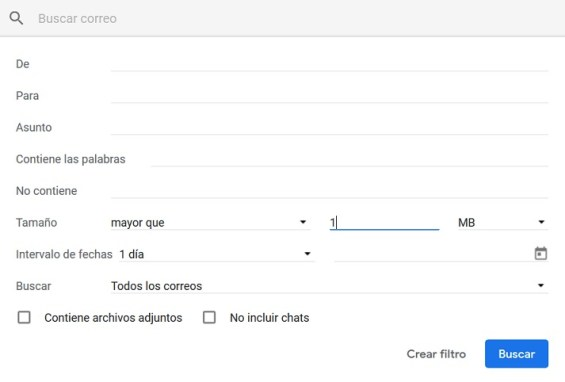 eliminar espacio en gmail