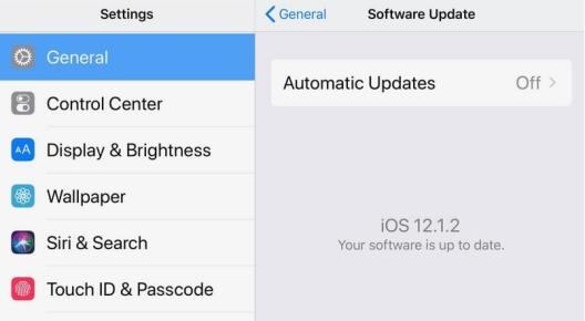 Una captura de pantalla de la configuración de actualización de iOS