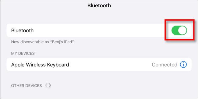 Desactiva el interruptor Bluetooth en la configuración del iPad