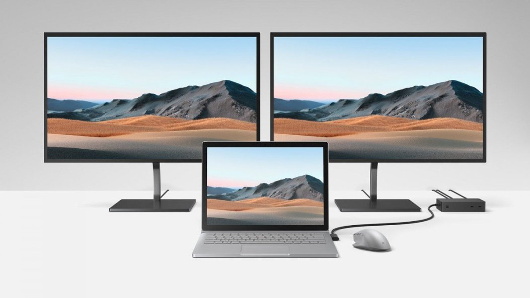 Un Surface Book 3 conectado a dos monitores a través de un Surface Dock 2
