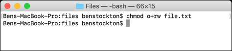 Un uso alternativo de chmod en el terminal macOS