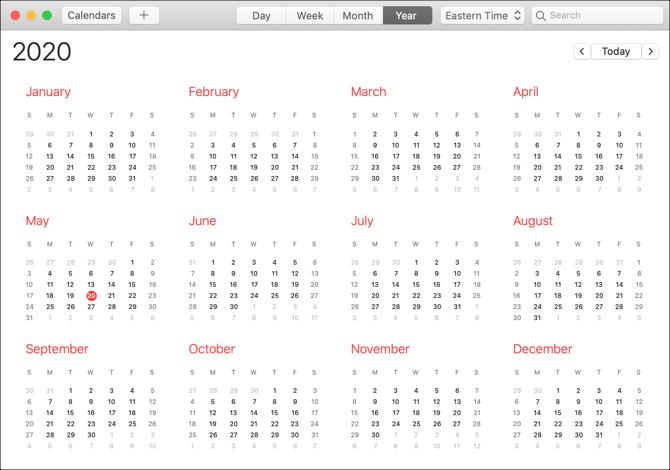 Aplicación de calendario Vista Mac-Year