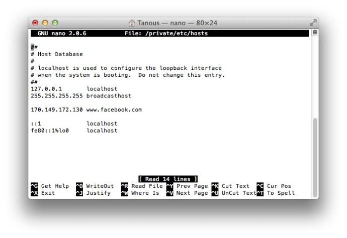 Modificador le fichier d'hôtes Nano
