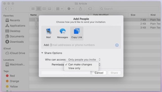 6. Share Files using iCloud File Sharing on Mac