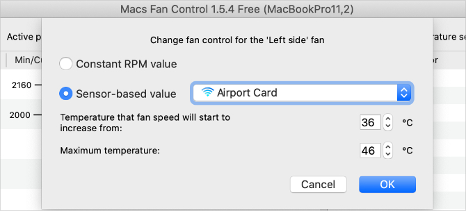 Macs Fan Control settings window with temperature range