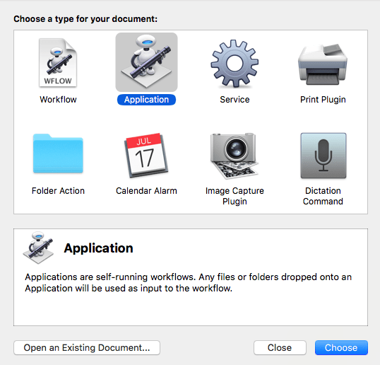 When you launch the Automator app, you'll have the option to create various document types, including workflows, applications and services.