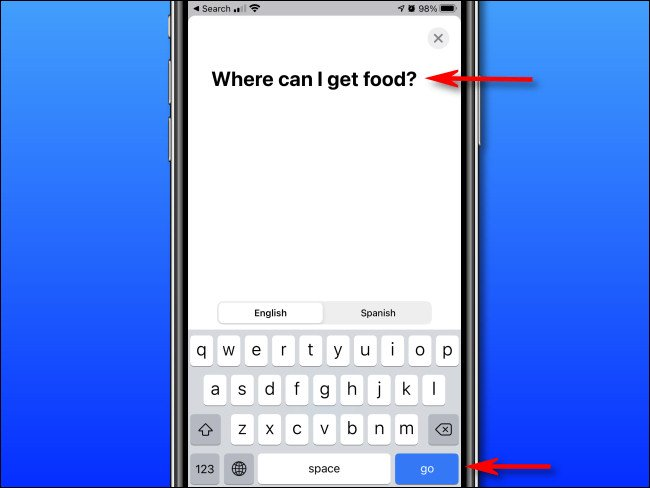 """In Apple Translate on iPhone, enter the text you'd like to translate using the on-screen keyboard, then tap """"go."""""""