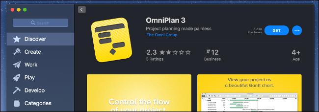 The Mac App Store showing the OmniPlan 3 app.