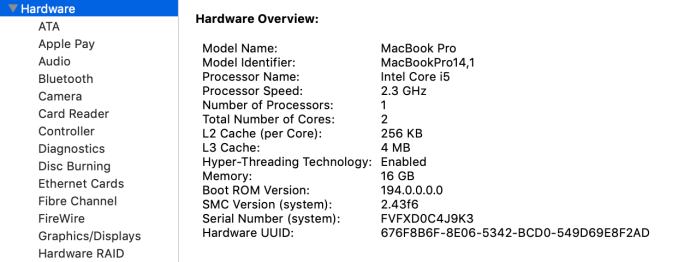 Visión general del hardware de Mac