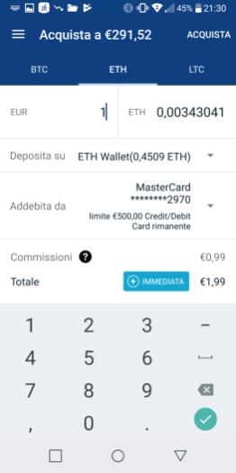 Dalla schermata di acquisto di criptomoneta, è possibile selezionare a chi addebbitare l'acquisto (alla carta di credito oppure al conto corrente) e dove depositare l'acquisto (in questo caso, trattandosi di ETH, finiranno sul portafoglio ETH)