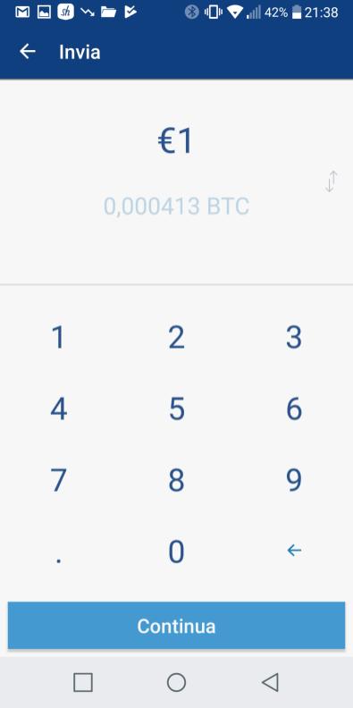 La schermata per l'invio di denaro ci permette di selezionare prima l'importo da inviare