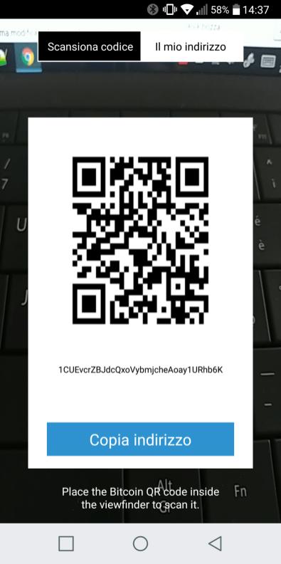 La stringa associata al nostro wallet BTC su Coinbase da utilizzare per l'invio di denaro da Poloniex