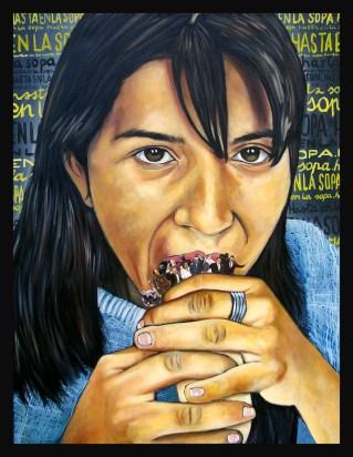 Le Mexique / 2013/ 80 x 60 cm / huile et collage sur toile