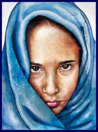 Je suis népalaise/ 80 x 60 cm / technique mixte sur toile