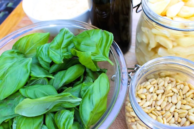 basil and pine nuts, ingredientes for pesto alla genovese