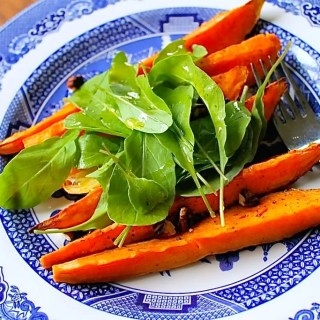 Roasted Sweet Potatoes with Arugula