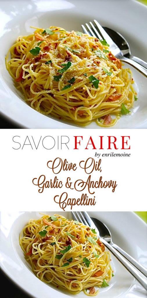 Olive oil, garlic & anchovy pasta - SAVOIR FAIRE by enrilemoine