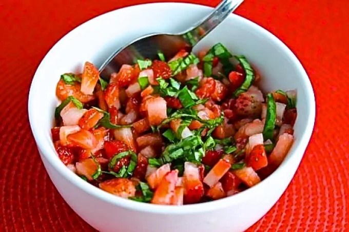 strawberry salad to make Chèvre, Strawberry and Basil Bruschetta