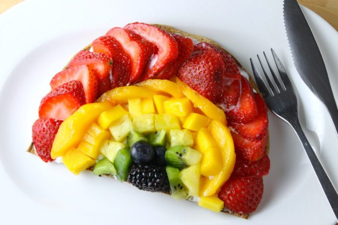 Pizza de frutas, frutas, pizza arcoiris