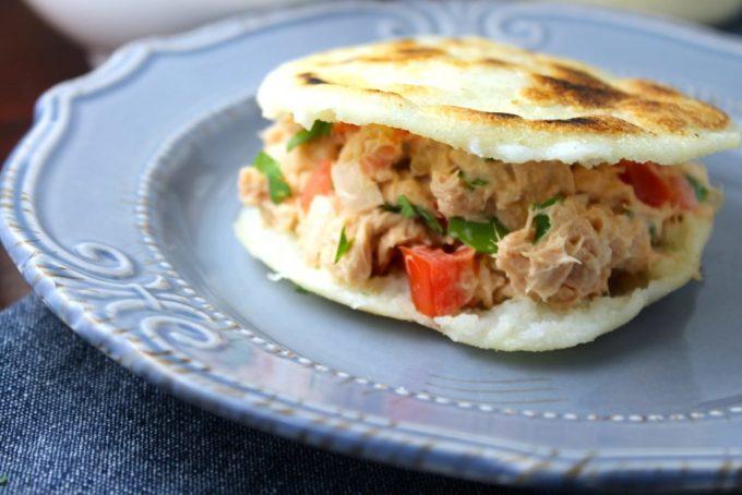 Arepa filled with tuna salad