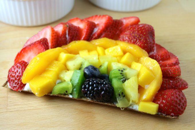 pizza de frutas, pizza de arcoiris