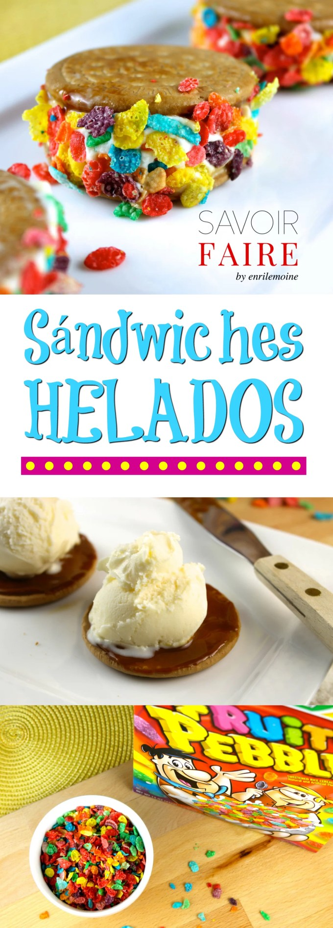 Galletas María, dulce de leche, helado de vainilla y cereal es todo lo que necesitas para hacer estos sándwiches helados para la merienda.