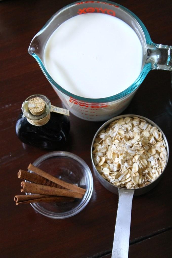 ingredientes para avena con leche y canela