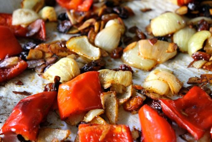 Roasted veggies, almonds and raisins to make masala by enrilemoine