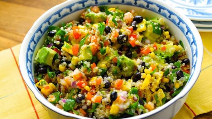 quinoa salad with corn and avocado