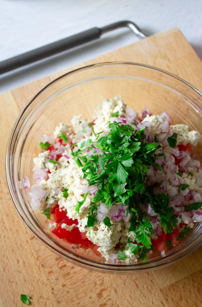 shanklish salad in the making