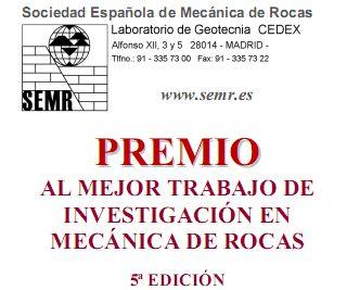 Premio SEMR 2013 al mejor trabajo de investigación en Mecánica de Rocas