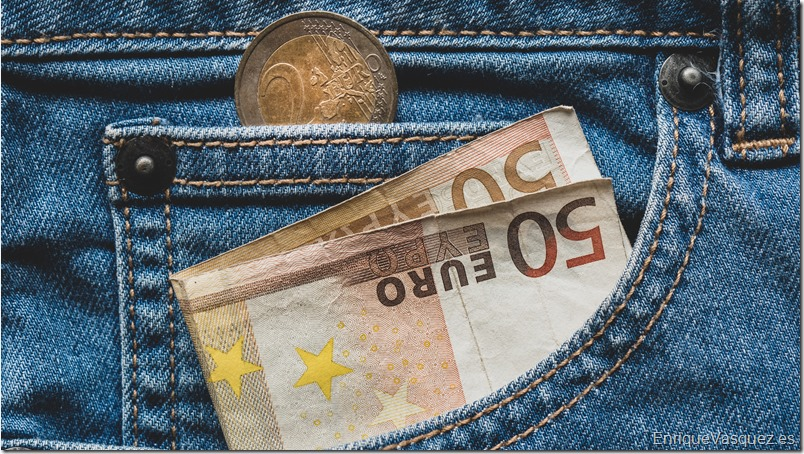 Close up of a 50 euro banknote in a pocket