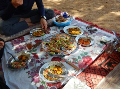 Lunch time while treking in the desert