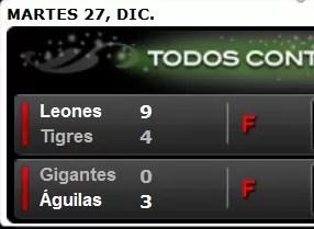 Águilas vencieron a los Gigantes y los Leones a los Tigres