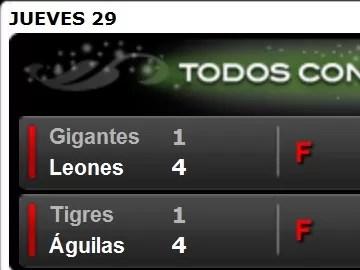Leones le ganaron a los Gigantes y las Águilas al Licey