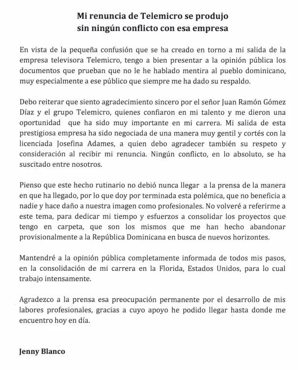 Carta de Jenny Blanco
